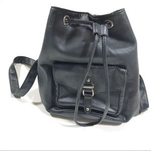 H&M Divided Black Faux Leather Small Backpack